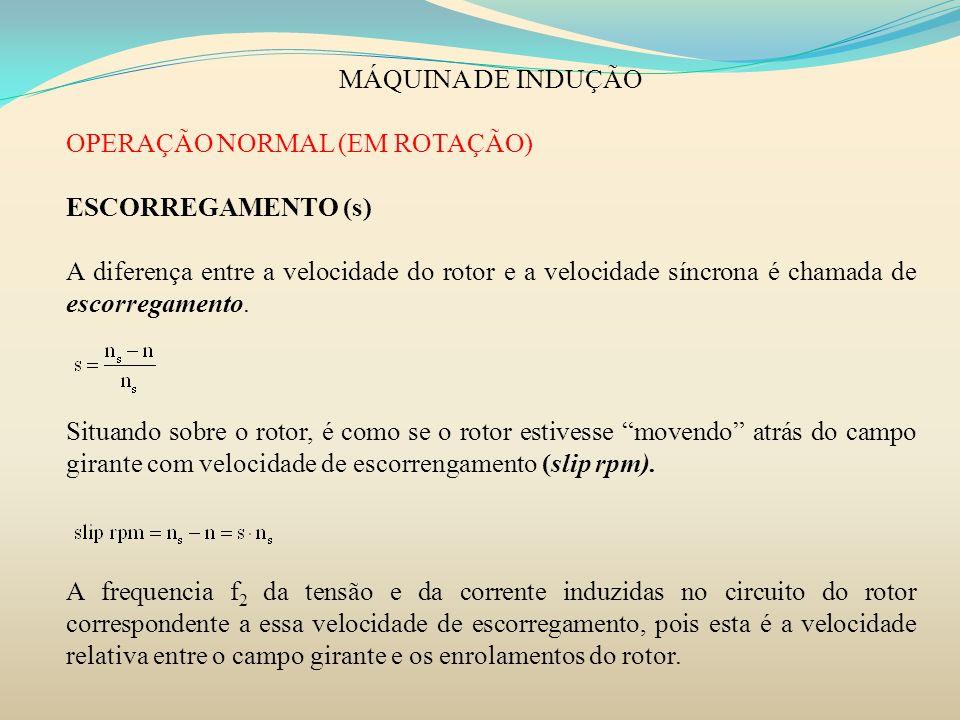 MÁQUINA DE INDUÇÃO OPERAÇÃO NORMAL (EM ROTAÇÃO) ESCORREGAMENTO (s) A diferença entre a velocidade do rotor e a velocidade síncrona é chamada de escorr