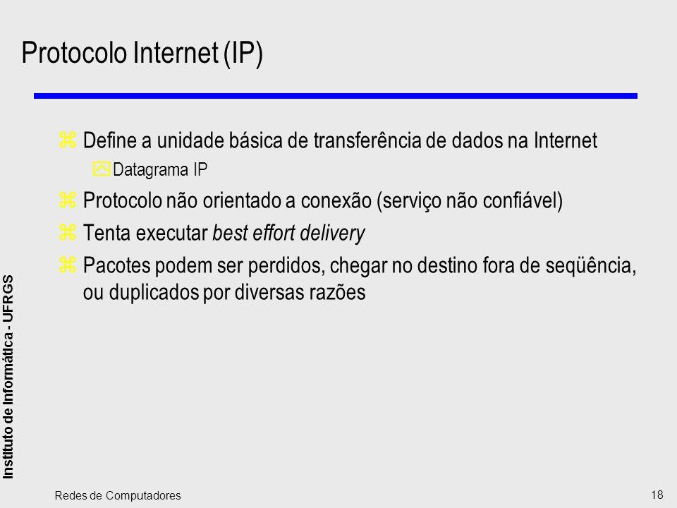 Instituto de Informática - UFRGS Redes de Computadores 18 Protocolo Internet (IP) zDefine a unidade básica de transferência de dados na Internet yData