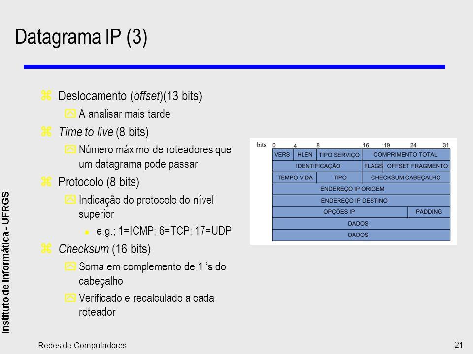 Instituto de Informática - UFRGS Redes de Computadores 21 Datagrama IP (3) zDeslocamento ( offset )(13 bits) yA analisar mais tarde z Time to live (8