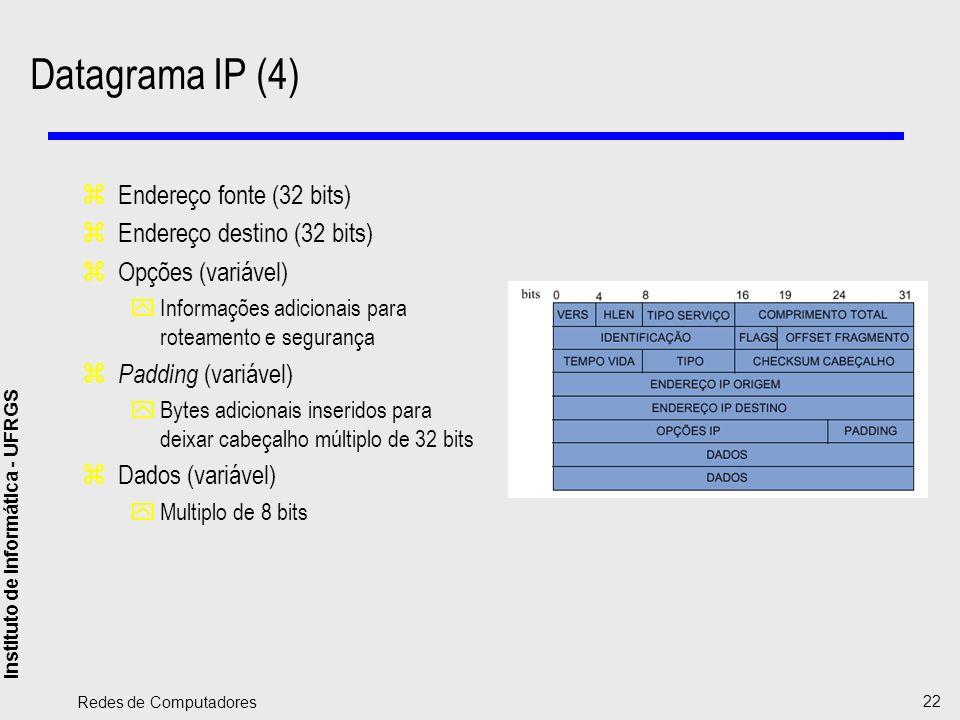 Instituto de Informática - UFRGS Redes de Computadores 22 Datagrama IP (4) zEndereço fonte (32 bits) zEndereço destino (32 bits) zOpções (variável) yI