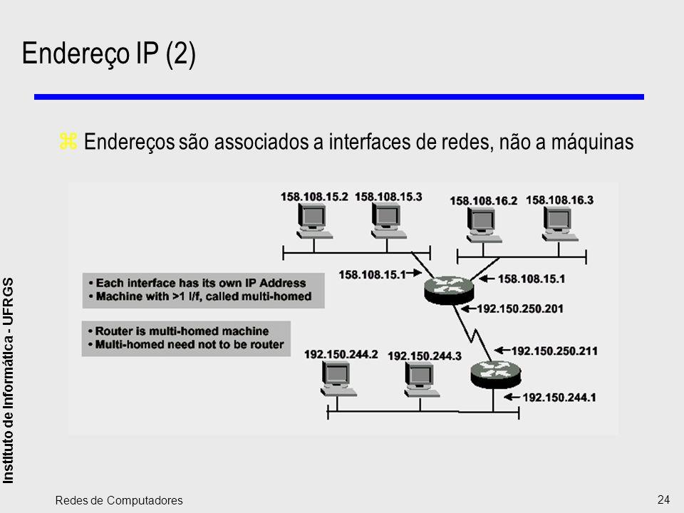 Instituto de Informática - UFRGS Redes de Computadores 24 Endereço IP (2) zEndereços são associados a interfaces de redes, não a máquinas