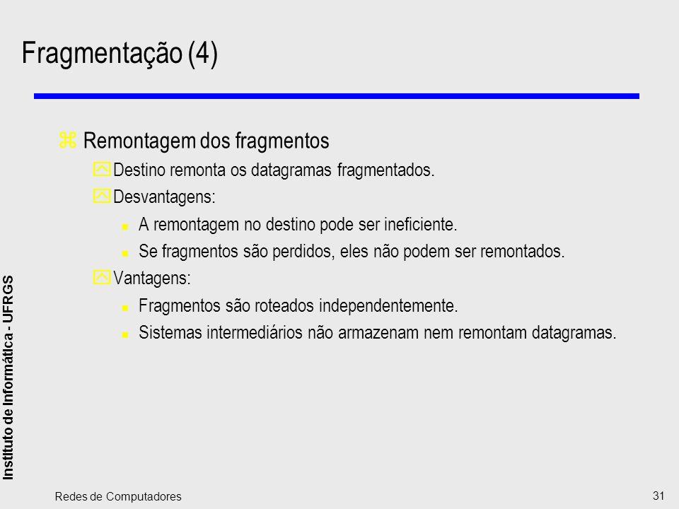 Instituto de Informática - UFRGS Redes de Computadores 31 Fragmentação (4) zRemontagem dos fragmentos yDestino remonta os datagramas fragmentados. yDe