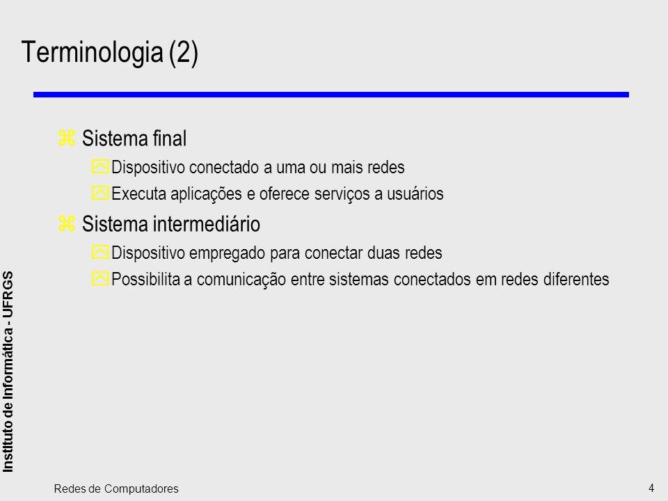 Instituto de Informática - UFRGS Redes de Computadores 5 Terminologia (3) zPontes (bridges) ySistema intermediário que conecta duas redes que utilizam um mesmo protocolo de rede yAtua no nível de enlace (nivel 2 OSI) zRoteador (router) yInterconecta duas redes yUtiliza o mesmo protocolo do sistema final yAtua no nível de rede (nível 3 OSI) zPortal (gateway) yExecuta a tradução de protocolos