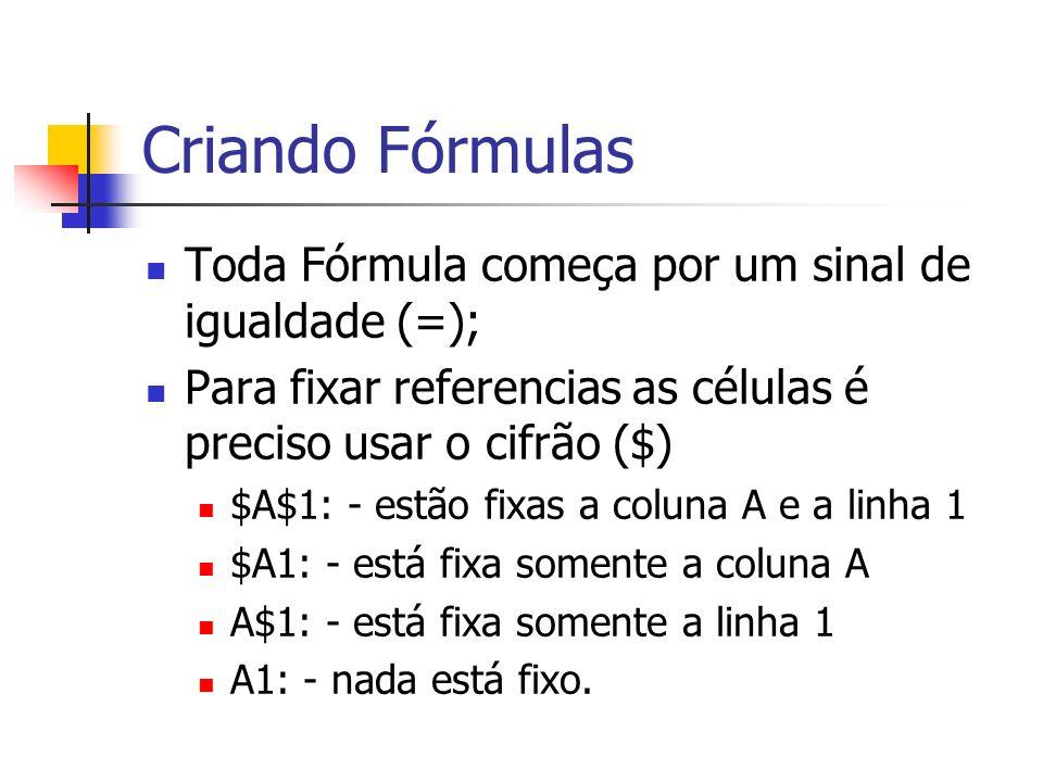 Criando Fórmulas Toda Fórmula começa por um sinal de igualdade (=); Para fixar referencias as células é preciso usar o cifrão ($) $A$1: - estão fixas