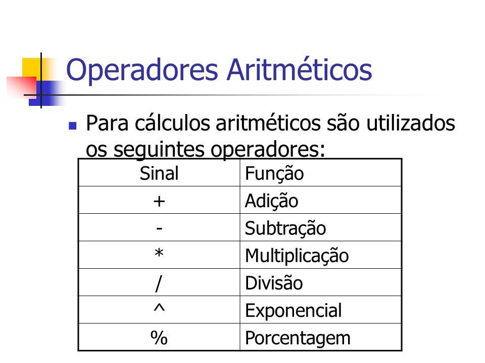 Operadores Aritméticos Para cálculos aritméticos são utilizados os seguintes operadores: SinalFunção +Adição -Subtração *Multiplicação /Divisão ^Expon