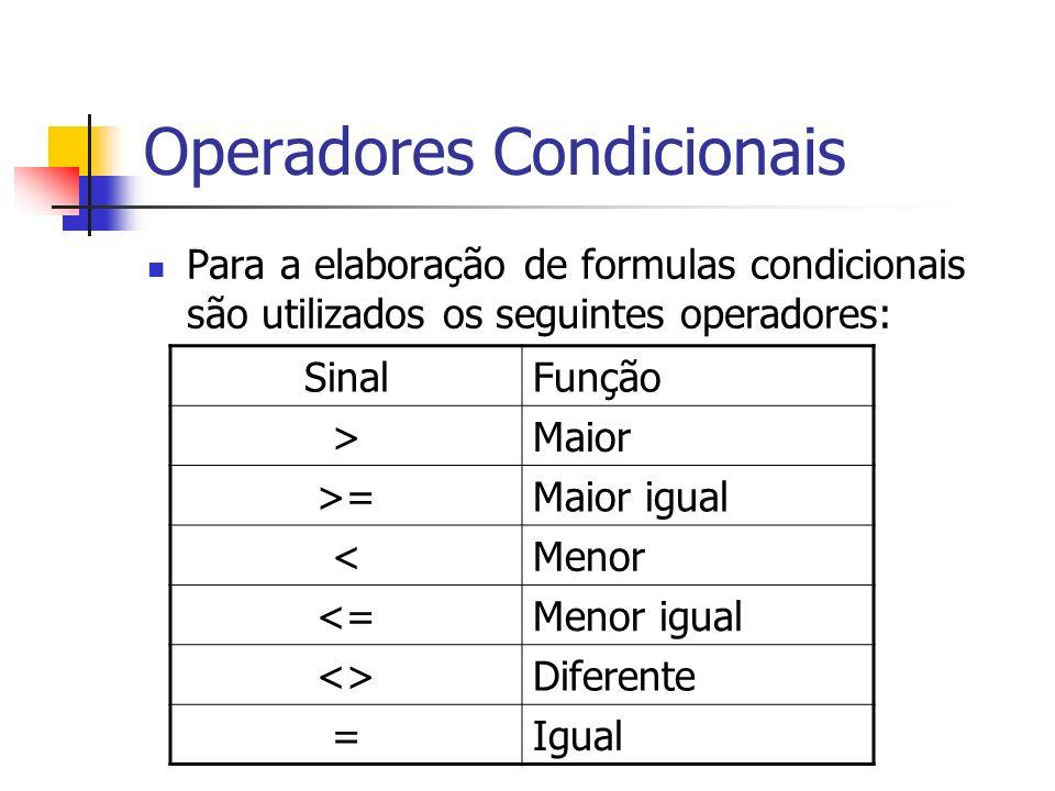 Operadores Condicionais Para a elaboração de formulas condicionais são utilizados os seguintes operadores: SinalFunção >Maior >=Maior igual <Menor <=M