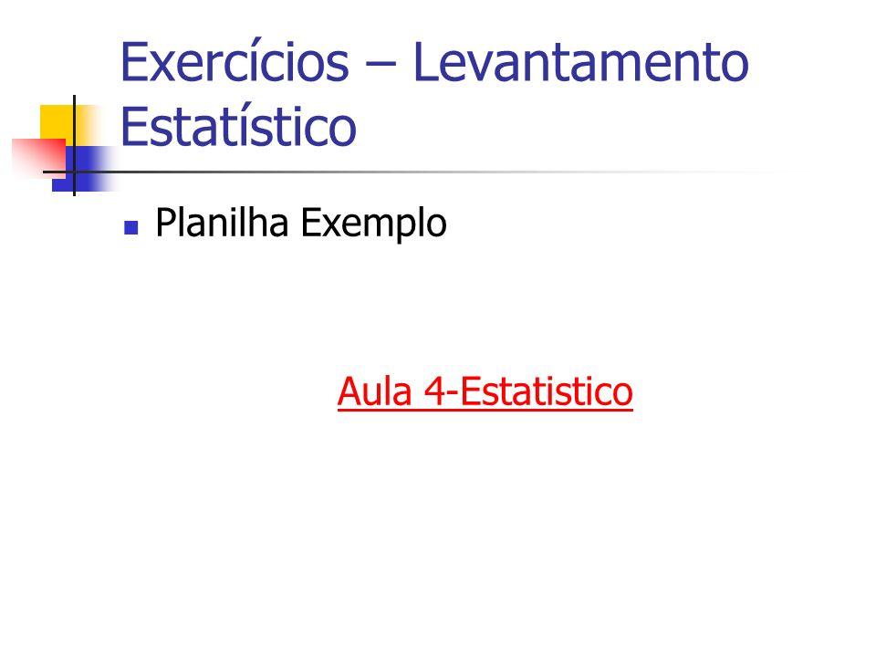 Exercícios – Levantamento Estatístico Planilha Exemplo Aula 4-Estatistico