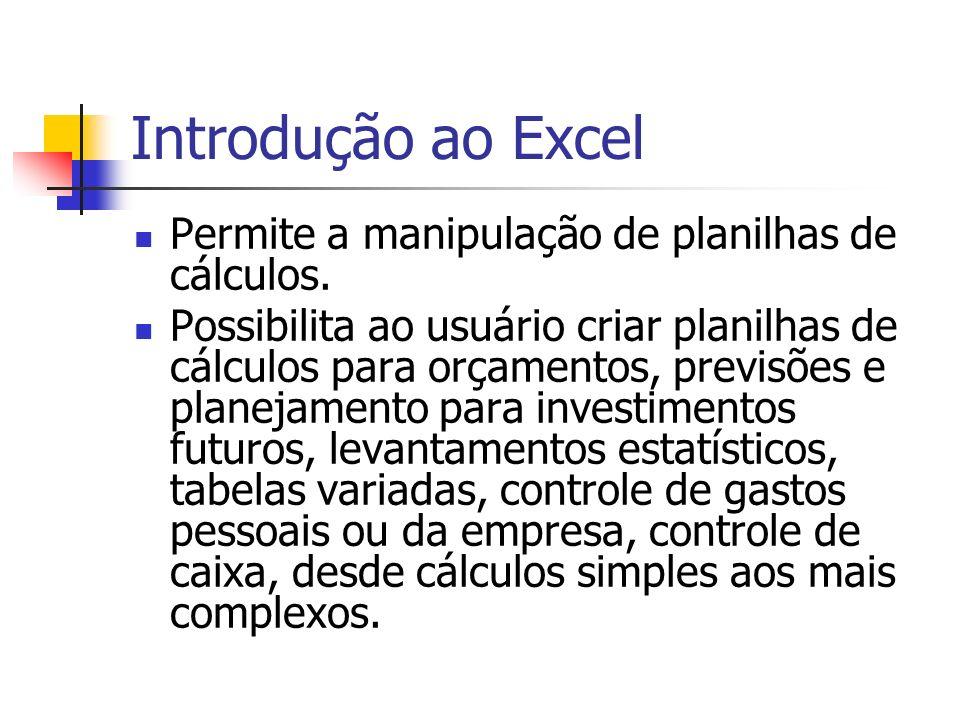Introdução ao Excel Permite a manipulação de planilhas de cálculos. Possibilita ao usuário criar planilhas de cálculos para orçamentos, previsões e pl