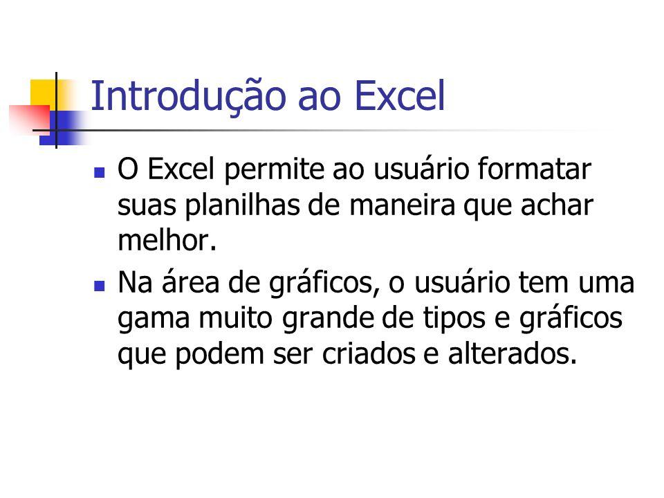 Introdução ao Excel O Excel permite ao usuário formatar suas planilhas de maneira que achar melhor. Na área de gráficos, o usuário tem uma gama muito