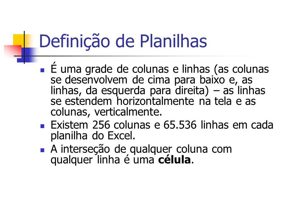 Definição de Planilhas É uma grade de colunas e linhas (as colunas se desenvolvem de cima para baixo e, as linhas, da esquerda para direita) – as linh