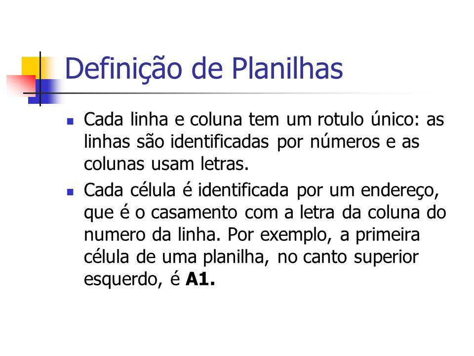 Definição de Planilhas Cada linha e coluna tem um rotulo único: as linhas são identificadas por números e as colunas usam letras. Cada célula é identi