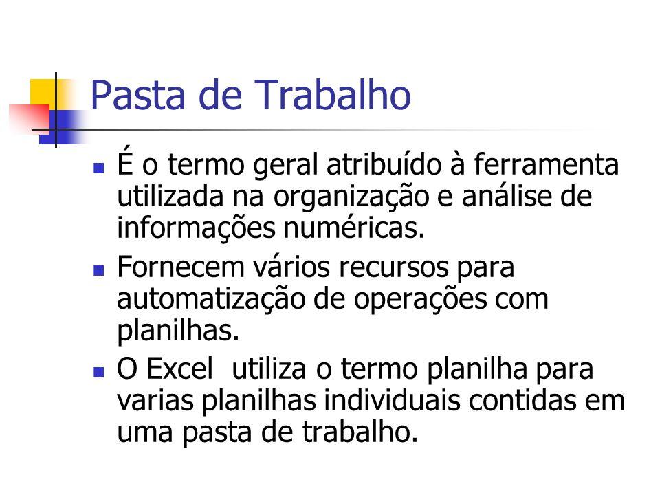 Pasta de Trabalho É o termo geral atribuído à ferramenta utilizada na organização e análise de informações numéricas. Fornecem vários recursos para au