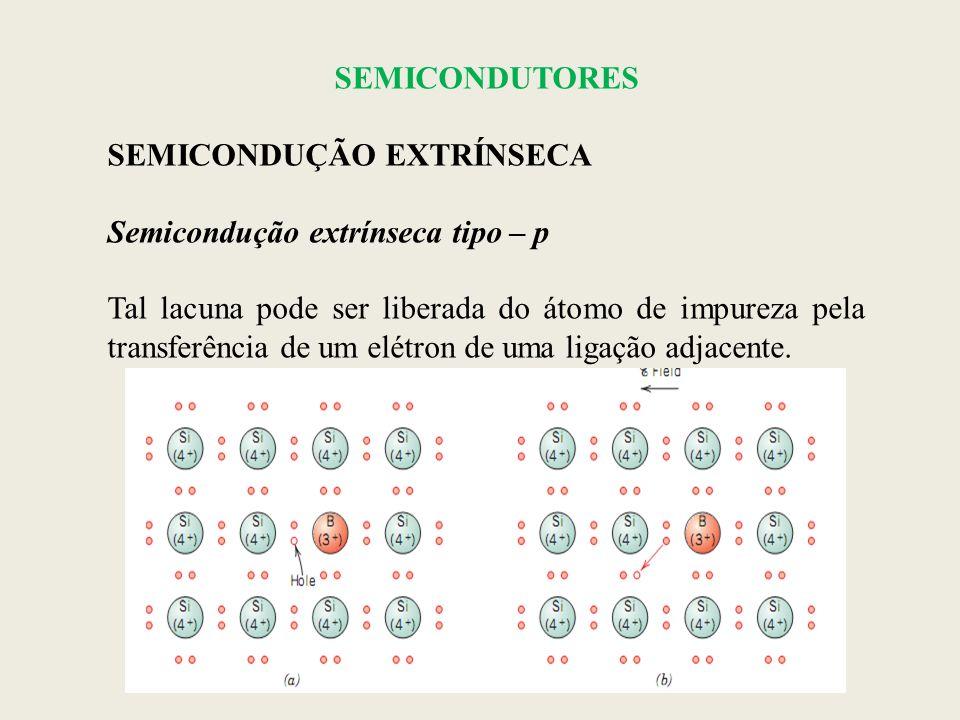 SEMICONDUTORES SEMICONDUÇÃO EXTRÍNSECA Semicondução extrínseca tipo – p Tal lacuna pode ser liberada do átomo de impureza pela transferência de um elé