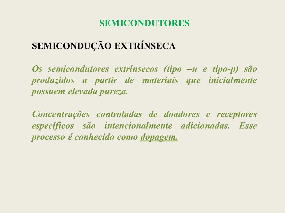 SEMICONDUTORES SEMICONDUÇÃO EXTRÍNSECA Os semicondutores extrínsecos (tipo –n e tipo-p) são produzidos a partir de materiais que inicialmente possuem