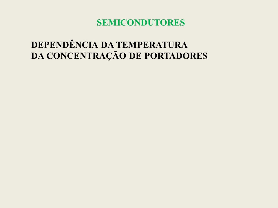 SEMICONDUTORES DEPENDÊNCIA DA TEMPERATURA DA CONCENTRAÇÃO DE PORTADORES
