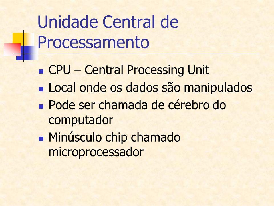 Unidade Central de Processamento CPU – Central Processing Unit Local onde os dados são manipulados Pode ser chamada de cérebro do computador Minúsculo