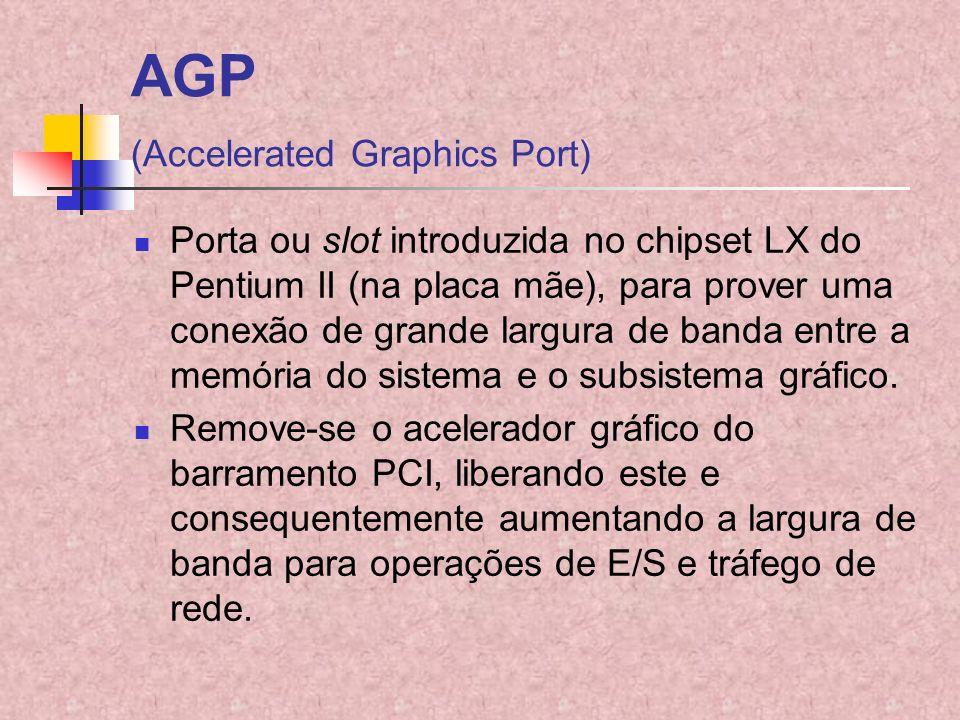 AGP (Accelerated Graphics Port) Porta ou slot introduzida no chipset LX do Pentium II (na placa mãe), para prover uma conexão de grande largura de ban