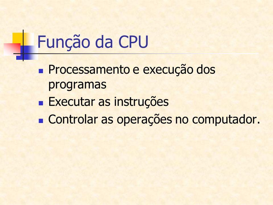 Função da CPU Processamento e execução dos programas Executar as instruções Controlar as operações no computador.