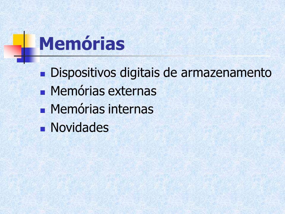Dispositivos digitais de armazenamento Memórias externas Memórias internas Novidades