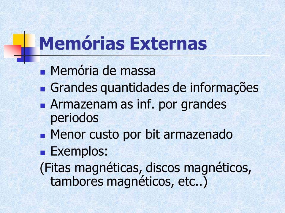 Memórias Externas Memória de massa Grandes quantidades de informações Armazenam as inf. por grandes periodos Menor custo por bit armazenado Exemplos:
