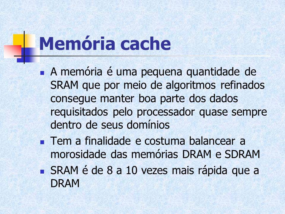 Memória cache A memória é uma pequena quantidade de SRAM que por meio de algoritmos refinados consegue manter boa parte dos dados requisitados pelo pr