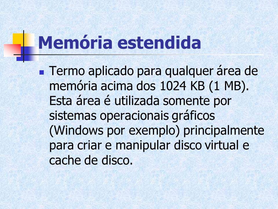 Memória estendida Termo aplicado para qualquer área de memória acima dos 1024 KB (1 MB). Esta área é utilizada somente por sistemas operacionais gráfi
