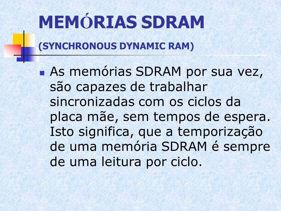 MEM Ó RIAS SDRAM (SYNCHRONOUS DYNAMIC RAM) As memórias SDRAM por sua vez, são capazes de trabalhar sincronizadas com os ciclos da placa mãe, sem tempo