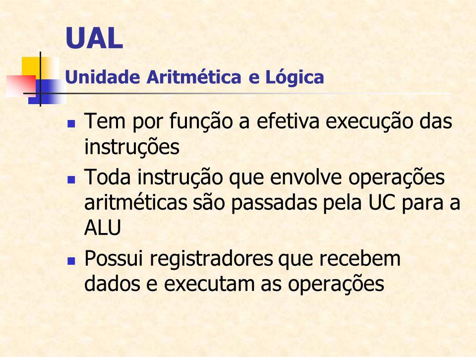 UAL Unidade Aritmética e Lógica Tem por função a efetiva execução das instruções Toda instrução que envolve operações aritméticas são passadas pela UC