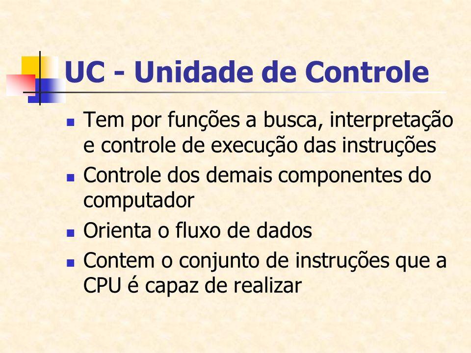 UC - Unidade de Controle Tem por funções a busca, interpretação e controle de execução das instruções Controle dos demais componentes do computador Or