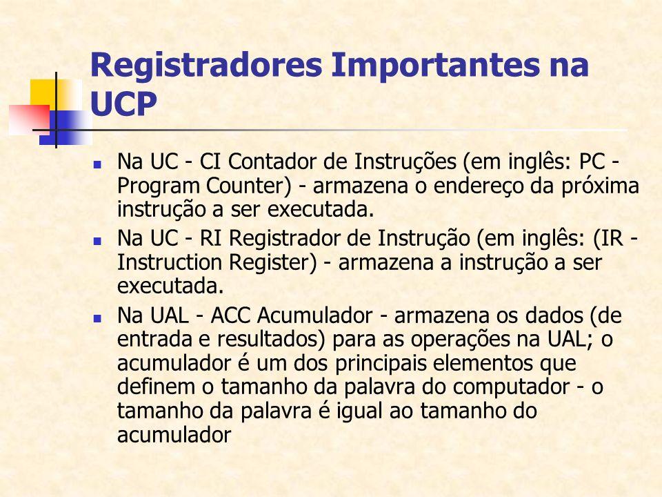 Registradores Importantes na UCP Na UC - CI Contador de Instruções (em inglês: PC - Program Counter) - armazena o endereço da próxima instrução a ser
