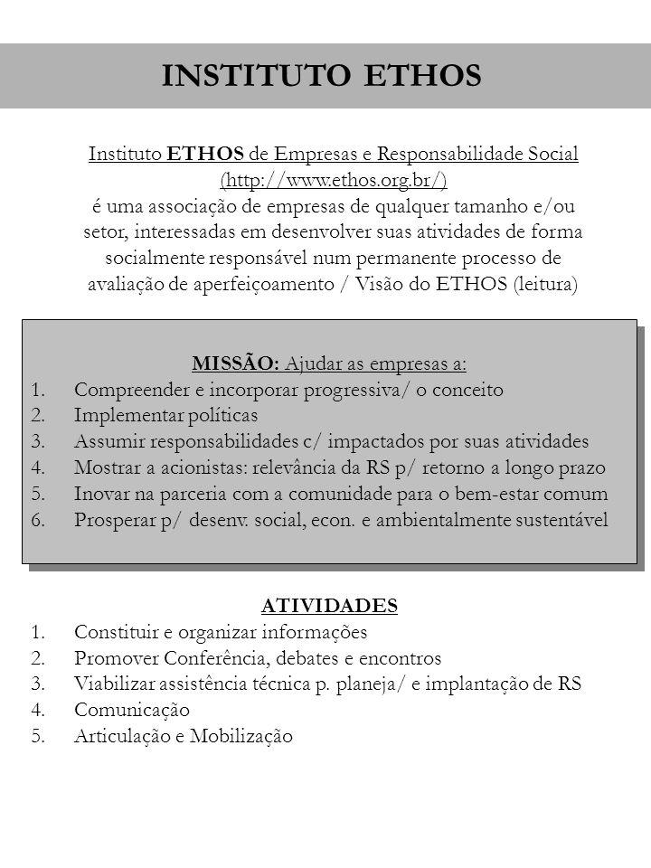 Instituto ETHOS de Empresas e Responsabilidade Social (http://www.ethos.org.br/) é uma associação de empresas de qualquer tamanho e/ou setor, interess