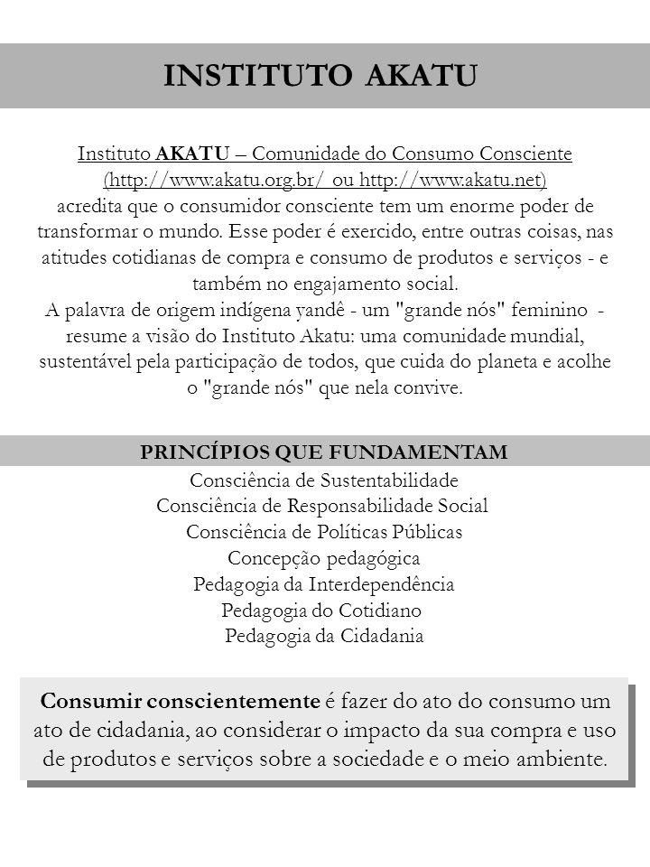 INSTITUTO AKATU Instituto AKATU – Comunidade do Consumo Consciente (http://www.akatu.org.br/ ou http://www.akatu.net) acredita que o consumidor consci