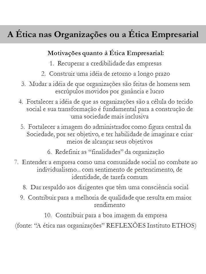 A Ética nas Organizações ou a Ética Empresarial Motivações quanto à Ética Empresarial: 1.Recuperar a credibilidade das empresas 2.Construir uma idéia