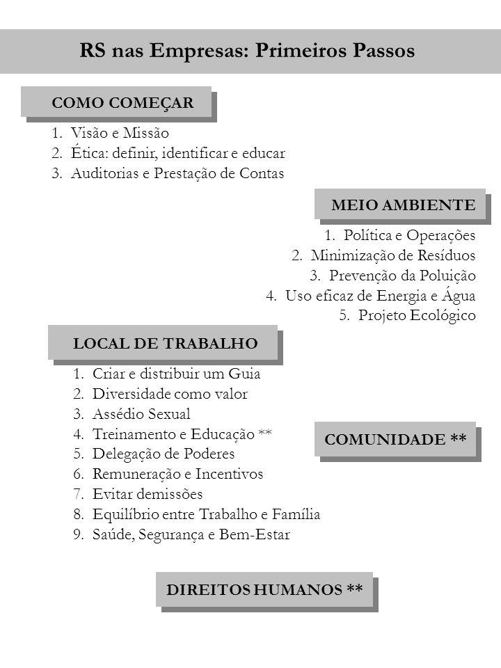 RS nas Empresas: Primeiros Passos COMO COMEÇAR 1.Visão e Missão 2.Ética: definir, identificar e educar 3.Auditorias e Prestação de Contas MEIO AMBIENT
