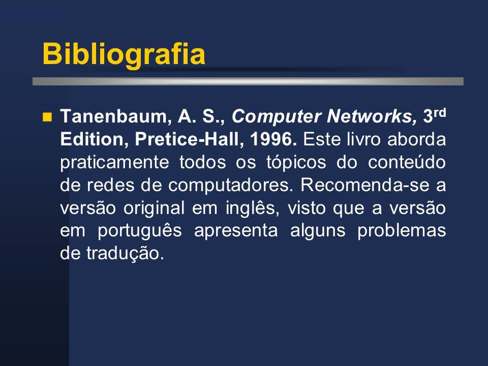 Bibliografia Tanenbaum, A. S., Computer Networks, 3 rd Edition, Pretice-Hall, 1996. Este livro aborda praticamente todos os tópicos do conteúdo de red