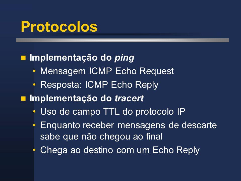 Protocolos Implementação do ping Mensagem ICMP Echo Request Resposta: ICMP Echo Reply Implementação do tracert Uso de campo TTL do protocolo IP Enquan