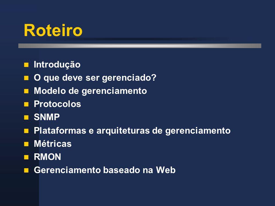 Roteiro Introdução O que deve ser gerenciado? Modelo de gerenciamento Protocolos SNMP Plataformas e arquiteturas de gerenciamento Métricas RMON Gerenc