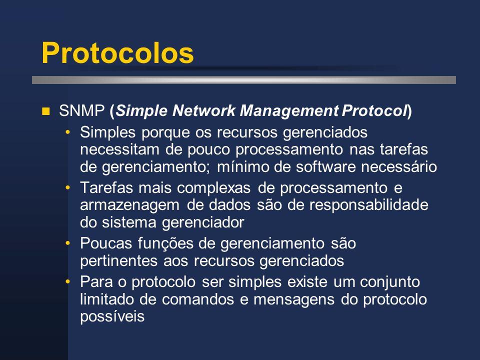 Protocolos SNMP (Simple Network Management Protocol) Simples porque os recursos gerenciados necessitam de pouco processamento nas tarefas de gerenciam
