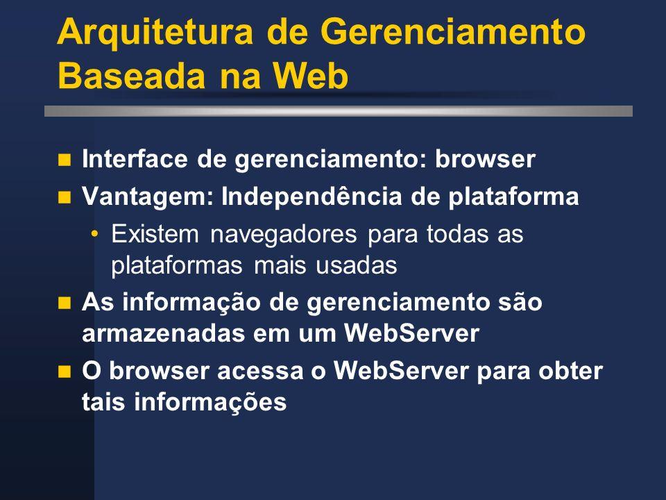 Arquitetura de Gerenciamento Baseada na Web Interface de gerenciamento: browser Vantagem: Independência de plataforma Existem navegadores para todas a