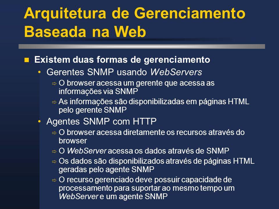 Arquitetura de Gerenciamento Baseada na Web Existem duas formas de gerenciamento Gerentes SNMP usando WebServers O browser acessa um gerente que acess