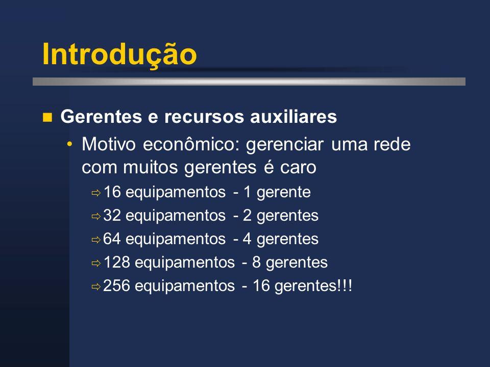 Introdução Gerentes e recursos auxiliares Motivo econômico: gerenciar uma rede com muitos gerentes é caro 16 equipamentos - 1 gerente 32 equipamentos