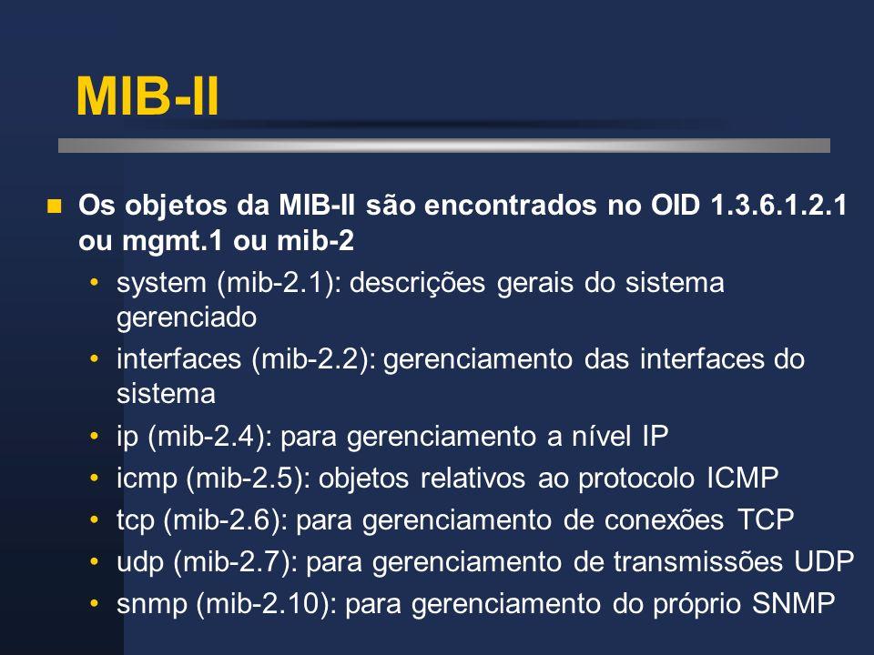 MIB-II Os objetos da MIB-II são encontrados no OID 1.3.6.1.2.1 ou mgmt.1 ou mib-2 system (mib-2.1): descrições gerais do sistema gerenciado interfaces