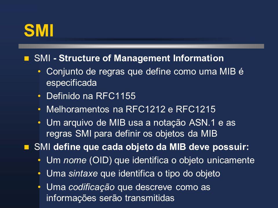 SMI SMI - Structure of Management Information Conjunto de regras que define como uma MIB é especificada Definido na RFC1155 Melhoramentos na RFC1212 e