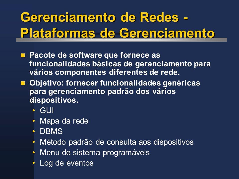 Gerenciamento de Redes - Plataformas de Gerenciamento Pacote de software que fornece as funcionalidades básicas de gerenciamento para vários component