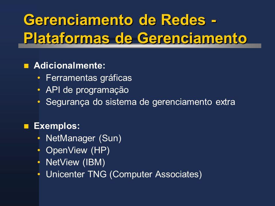 Gerenciamento de Redes - Plataformas de Gerenciamento Adicionalmente: Ferramentas gráficas API de programação Segurança do sistema de gerenciamento ex