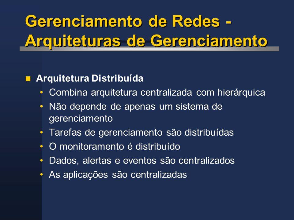 Gerenciamento de Redes - Arquiteturas de Gerenciamento Arquitetura Distribuída Combina arquitetura centralizada com hierárquica Não depende de apenas