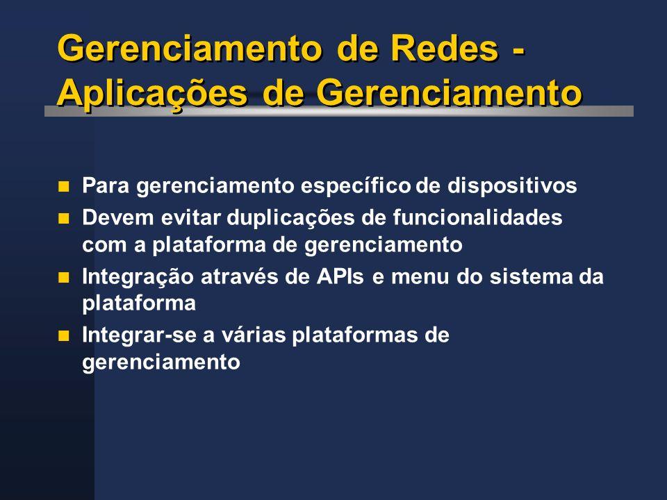 Gerenciamento de Redes - Aplicações de Gerenciamento Para gerenciamento específico de dispositivos Devem evitar duplicações de funcionalidades com a p