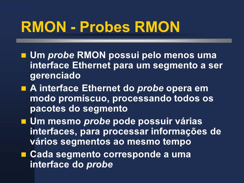 RMON - Probes RMON Um probe RMON possui pelo menos uma interface Ethernet para um segmento a ser gerenciado A interface Ethernet do probe opera em mod