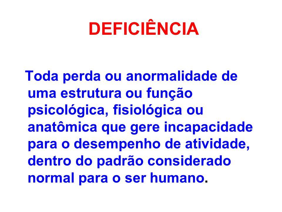DEFICIÊNCIA Toda perda ou anormalidade de uma estrutura ou função psicológica, fisiológica ou anatômica que gere incapacidade para o desempenho de ati