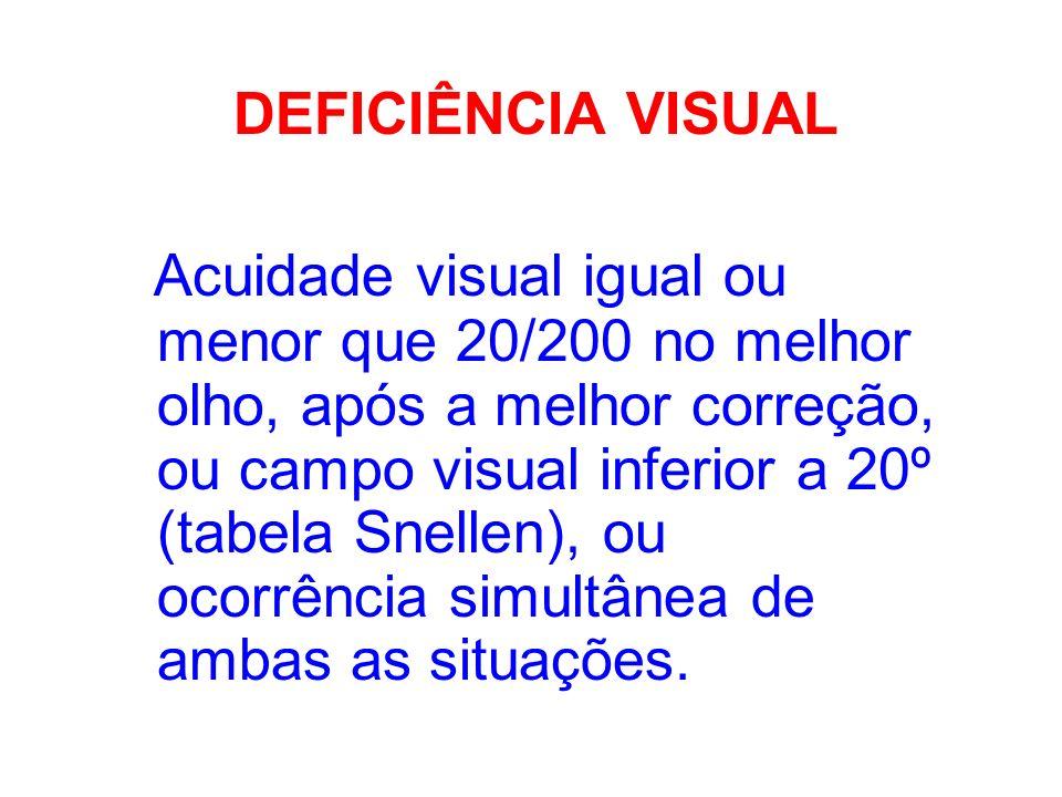 DEFICIÊNCIA VISUAL Acuidade visual igual ou menor que 20/200 no melhor olho, após a melhor correção, ou campo visual inferior a 20º (tabela Snellen),